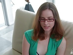 Interview and striptease with glasses girl tubes