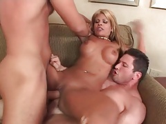 Blonde latina fucked in a double penetration tubes