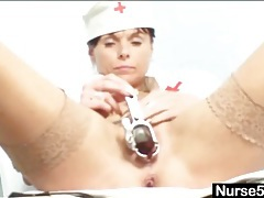 Milf nurse shows cunt in extreme close up tubes