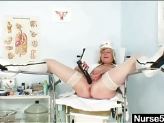 Cute mature blonde nurse has sex with a toy tubes