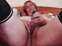 Solo mature dildo sex in black stockings tubes
