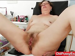 Hairy mature vagina examined by her doctor tubes