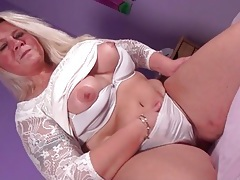 White lace dress is sexy on a blonde bbw tubes