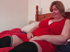 Bbw in a pretty red dress and black stockings tubes