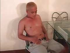 Cute asian blonde plays with his little dick tubes