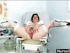 Leather boots and sexy stockings on a nurse tubes