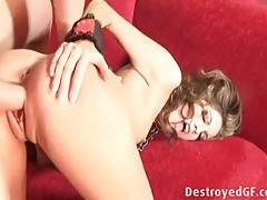 Skinny girl on a leash fucked by two dudes tubes