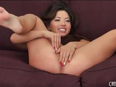 Asian with lovely long brown hair sucks and fucks tubes