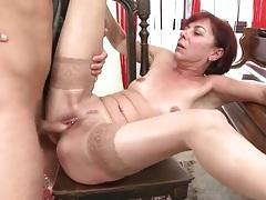 Mature redhead with little pierced nipples sucks dick tubes