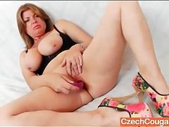 Crotchless leather panties on masturbating mature tubes