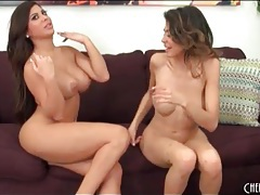 Brown haired lesbian babes suck on big tits tubes
