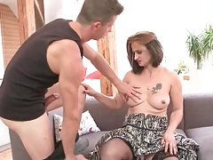 Cute milf skillfully swallows cock and sucks balls tubes