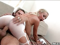 Ripped tights look tasty on cock riding blonde tubes