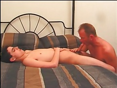 Older gay guy sucks on sexy twink cock tubes