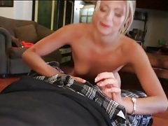 Pov blowjob from a sexy blonde in lipstick tubes