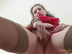 Small tits milf in a pretty red dress and stockings tubes