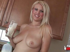 Naughty girl drinks a smoothie from her ass tubes
