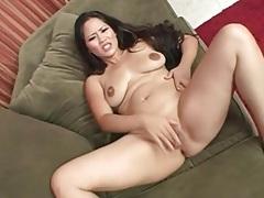 Lusty babe moans as she masturbates solo tubes