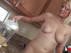Banana smoothie poured into her sexy ass tubes