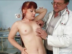 Mature fire crotch gets a pussy exam tubes