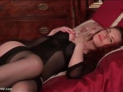 Classy mom in a pretty black lingerie set tubes