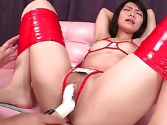 Girl bound by tape toyed in her pussy tubes