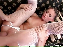 Flexible skinny girl in fishnets gets laid tubes