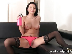 Stockings and pink lingerie are blazing hot tubes