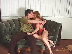 Kissing the lusty older lady that sucks his dick tubes