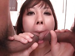 Japanese pussy slammed and wet mouth filled tubes