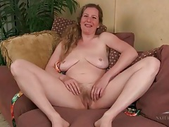 Blonde milf amateur has a hairy bush tubes