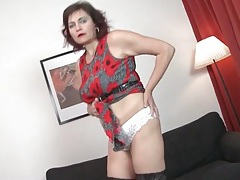 Panties and stockings look sexy on a solo mature tubes