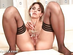 Chick in sheer stockings has a soaking wet pussy tubes
