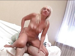 Slutty granny sucks and sits on his cock tubes