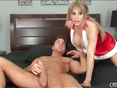 Christmas lingerie and boots on cocksucking milf tubes