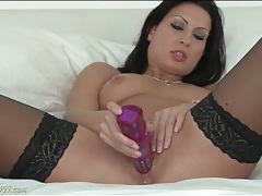 Dildo slides into her soaking wet pussy tubes
