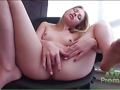 Blonde avril hall gently fingers her cunt tubes