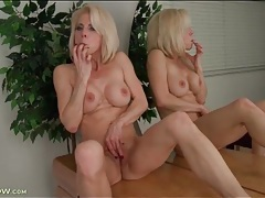 Old hottie with great implants masturbates solo tubes