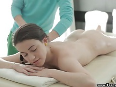 Masseur oils her up and rubs her down tubes