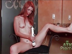 Redhead pepper kester toys her tight pussy tubes
