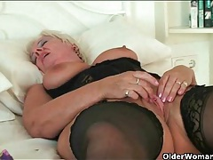 Sexy black lingerie on masturbating mature blonde tubes