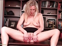 Milf masturbation session in an office chair tubes