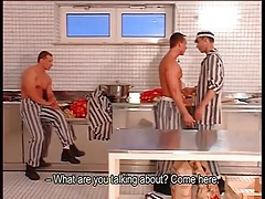 Gay prisoners strip and suck dick in the kitchen tubes