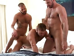 Three bearded hotties have anal sex in bed tubes