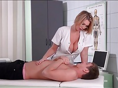 Sexy nurse wants him to suck on her tits tubes