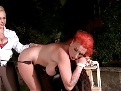 Big titty girl bound and bent over by her mistress tubes