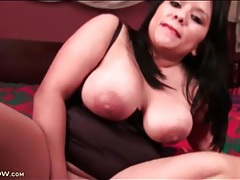 Fat girl with a toy stuffed into her latina pussy tubes
