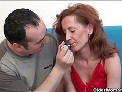 Skinny mature redhead sits on his hard cock tubes