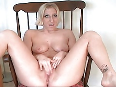She frees her legs from pantyhose to masturbate tubes