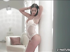 Beautiful girl in a white lace teddy wants to fuck tubes
